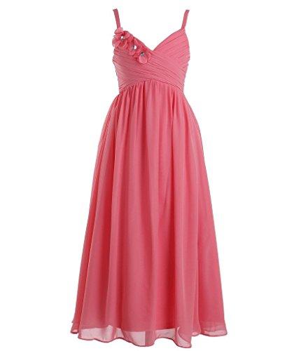 FAIRY COUPLE Big Girl's Spaghetti Straps A-line Chiffon Long Flower Girl Dress K0095 12 Coral (Fairy Tale Couples)