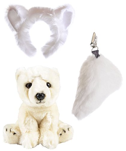 Brave Bears Costume (Wildlife Tree Stuffed Plush Polar Bear Ears Headband and Tail Set with Baby Plush Toy Polar Bear Bundle for Pretend Play Animals Dressup)