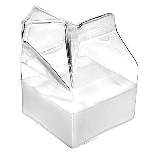 (CLOVERHOME Half Pint Creamer Glass Mini Milk Carton Container Water Glass Cup (Creamer 1))