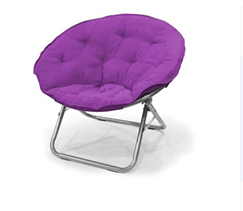 Urban Shop WK659920 Contemporary Plush Microsuede Saucer Chair, Solid, Iris (Green Chair Saucer)