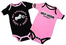 Harley-Davidson Baby Girls\' Grandpa Rides A Harley Creeper 2-Pack 1103054 (3/6M)