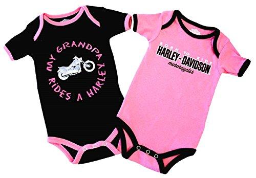 Harley-Davidson Baby Girls' Grandpa Rides A Harley Creeper 2-Pack 1103054 (3/6M)