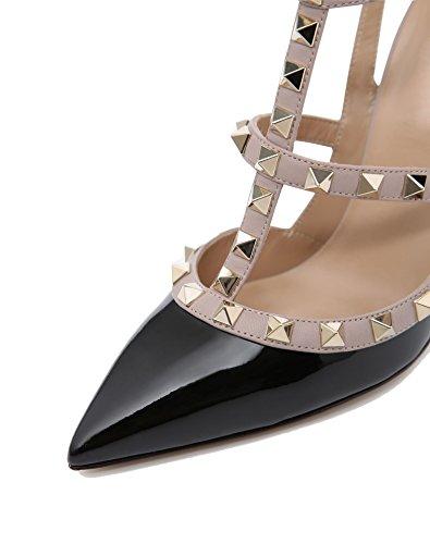 Caitlin Sandali Cinturini Patent da 45 EU Nude Festa Corte Scarpe Borchie Caviglia a 35 Alti Donna Moda alla Strap Tacchi Black con Pan Punta Stiletto Punta rU8qwrg
