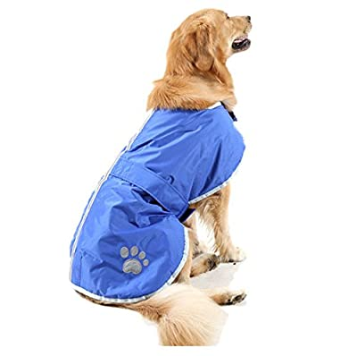 OHF Waterproof Dog Coat Quilted Reflective Cloak Soft Cozy Outdoor Raincoat Blanket Coat(5 Colors 5 Sizes) from OHF