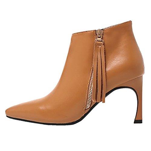 Schuhe Kegel Ferse MERUMOTE Stiefeletten Damen tassel Winter Mitte Braun with Party für Heels Wear Daily Leder wqA0qRfx