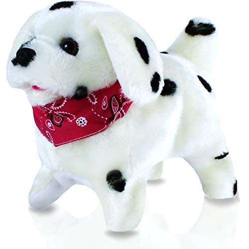 Haktoys Flip Over Puppy | Battery Operated Somersaulting, Walking, Sitting, Mechanical Barking Electronic Plush Cute Animal Dalmatian Dog | 7
