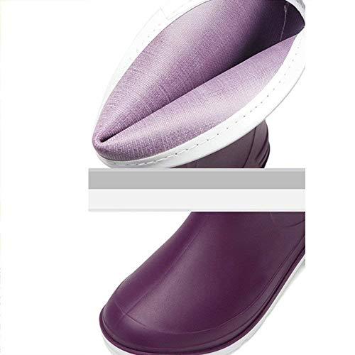 cn39 Eau Eu39 Printemps Bleu D'été Couverture skid Taille Violet Tube coloré Travail Adulte Mode Anti En Caoutchouc Pluie Chaussures uk6 Étanche Qiusa Bottes De Femme Femmes x8fCSC