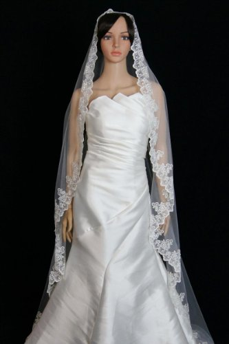 Bridal Wedding Mantilla Veil Ivory 1 Tier Long Cathedral Length With Lace Edge (Cathedral Bridal Rose)