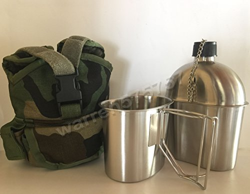 G.I. Style Stainless Steel 1qt. Canteen with Cup and Military Outdoor Clothing Never Issued Safariland SPEAR MultiUse1 Qt Canteen Pouch. by G.A.K