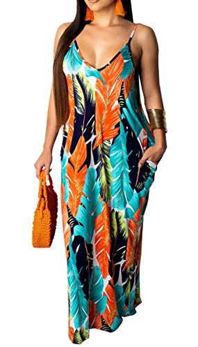 (Womens Sexy Summer Spaghetti Strap Bohemian Printed Beach Sundress Loose Plus Size Long Maxi Dresses with Pockets)