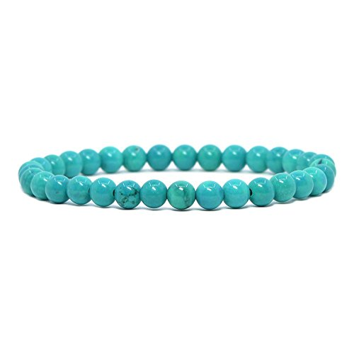 - Justinstones Dyed Turquoise Howlite Gemstone 6mm Round Beads Stretch Bracelet 6.5