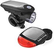 Mafiti Solar Bike Light, Front and Back Bike Lights Set, Bicycle Rechargeable LED Headlight & Rear Tail Li