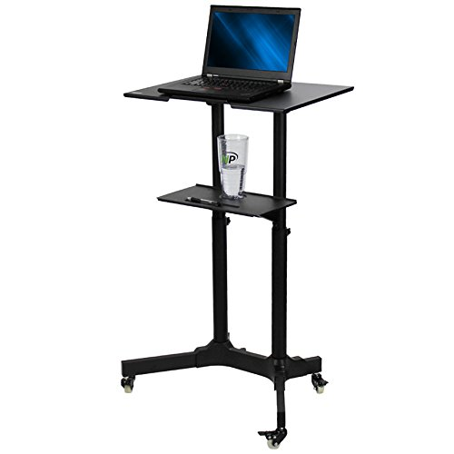 NavePoint Mobile Height Adjustable Tilt Top Sit Stand Rolling Laptop/Desktop Workstation (Tilt Top)