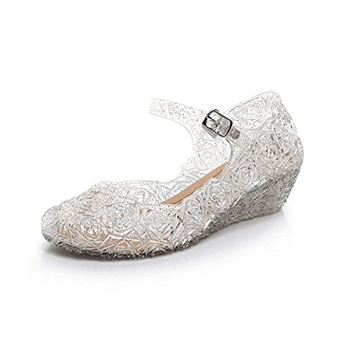 Youc-us Children's Princess Shoes Cinderella Baby Girls Soft Crystal Plastic Shoes (Toddler/Little Kid) Cosplay Jelly Shoes White