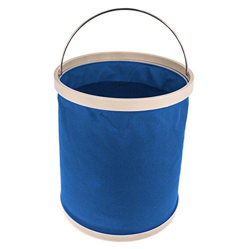 Smartfox faltbarer Eimer Falteimer, 11 Liter, Ø 23 cm, mit Metallbügel, Blau