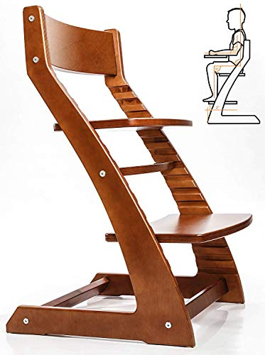 Heartwood Adjustable Wooden High Chair Walnut Color for Babies and Toddlers Or as a Dining Chair 24 Months up to 250 Lb