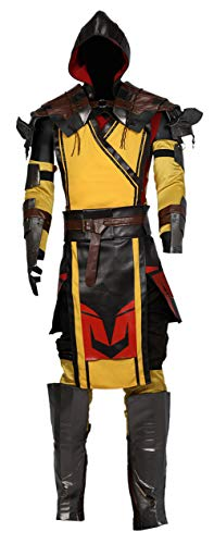Scorpion Costume PU Leather Outfit Mortal Kombat Halloween Cosplay Suit Accessory Prop L -