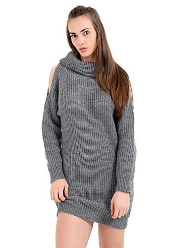 Women Cut Jumper Mini Knitted Grey Oversized Shoulder Ladies Neck Polo Out Dress New SEwdYqd