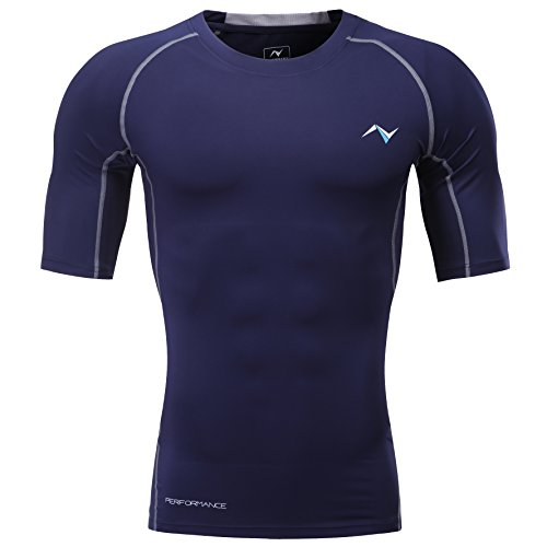 ff8b58e867309 Nooz 4 Way Stretch Men's Cool Tech Quick Dry Compression Short Sleeve  T-Shirt - Large, Blue