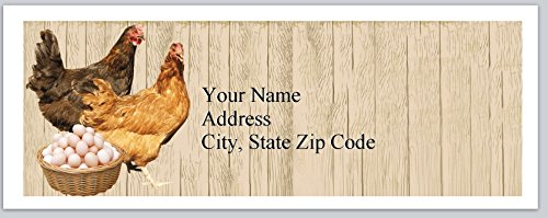 120 Personalized Return Address Labels Chickens & Eggs Farm (bx 241)