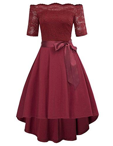 GRACE KARIN Women High Low Skater Dress Knee Length Size L Wine (Knee Length Homecoming Dresses)