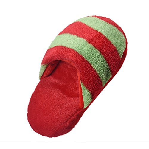Dog Toy Slipper Pet Chew Toys Puppy Chew Squeaky Squeaker Sound Striped Plush Slippers Natural Cotton Rope Teething Playing Fun Toy Sandal for Cat Dog Puppy Supplies ()