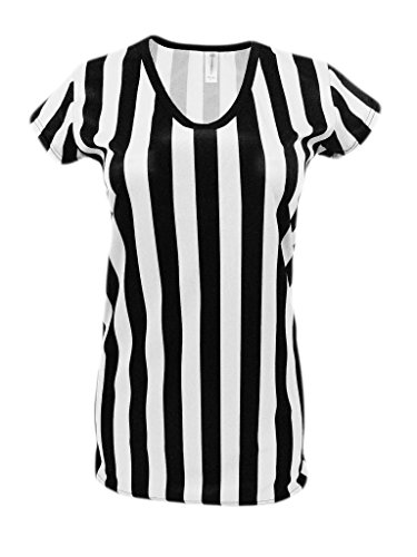 Womens Referee Shirts | Comfortable V-Neck Ref Shirt for Waitresses, Refs, More- Black/White M,Black/White,Medium