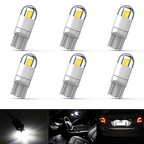 6 pcs 194 LED Bulbs 6000K Xenon White 260LM Super Bright T10 Car Interior Light Bulb 2-3030 SMD 168 175 2825 W5W Led Bulbs for Dome Reading Fog Clearence Light License Plate Turn Light Signal Light (Bulb Super White)