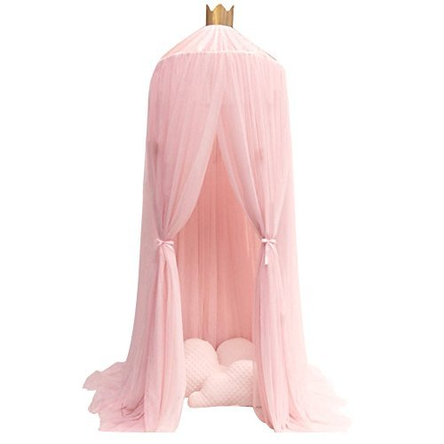 Los niños con dosel mosquitero Ronda aro Cúpula cama Princesa de lujo y decoraciones de malla de encaje de algodón para...