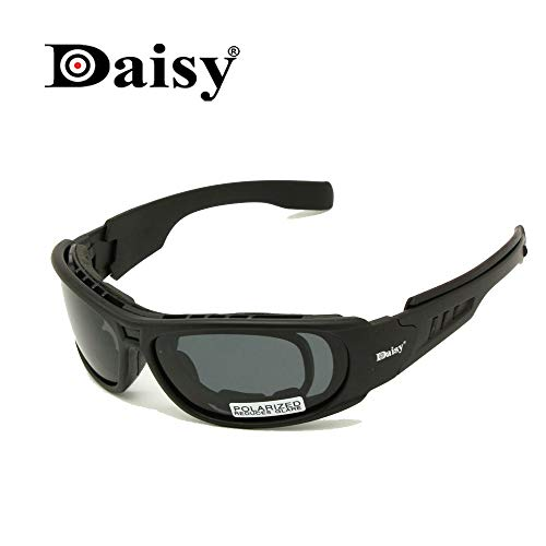 Daisy C6 Polarized Ballstic Army Sunglasses Military Goggles Rx Insert Combat War Game Tactical Glasses (black, ()