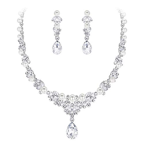 EVER FAITH Women's Crystal Simulated Pearl Bridal Teardrop Necklace Earrings Set Clear Silver-Tone]()
