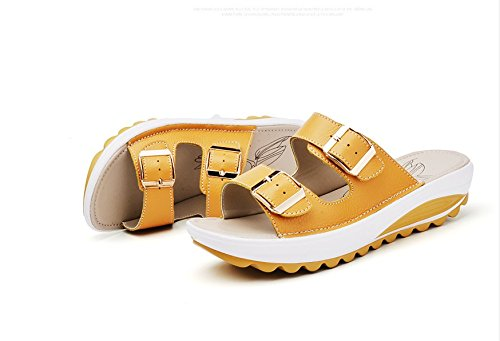 Xing Lin Ladies Sandals Sandals Women Summer Flat New Leather Slope With Non-Slip Casual Fashion Pregnant Women Soft Bottom Slippers yellow fJG9mxT