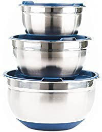 PickUp Fitzroy and Fox 3 Piece Stainless Steel Mixing Bowl Set with Lids, Non Slip Silicone Bottoms, and Volume Measurements... saleoff