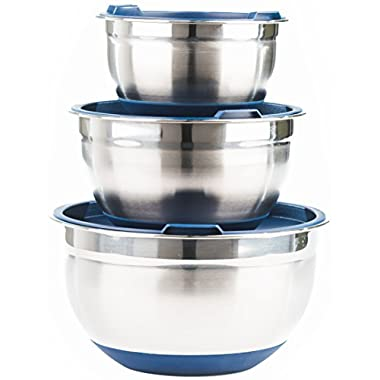 Fitzroy and Fox 3 Piece Stainless Steel Mixing Bowl Set with Lids, Non Slip Silicone Bottoms, and Volume Measurements