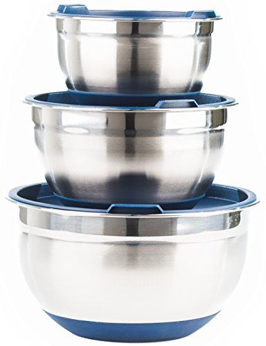 Fitzroy and Fox Non-Slip Stainless Steel Mixing Bowls with Lids, Set of 3, Blue by Fitzroy and Fox