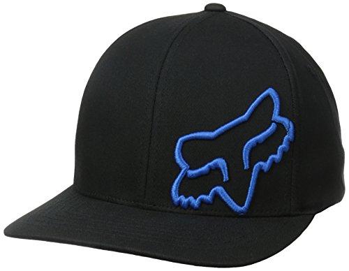 Fox Men's Flex Fit Legacy Logo Hat, Black/Blue1, L/XL (Black Mens Fox)