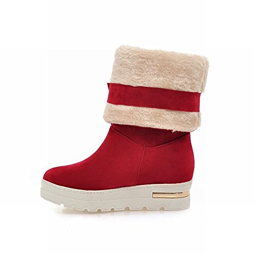 Latasa Womens Fashion Mid-calf Platform Snow Boots, Bows&faux-fur Decoration Red
