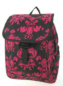 cute black and pink damask print medium backpack purse school gy. Black Bedroom Furniture Sets. Home Design Ideas