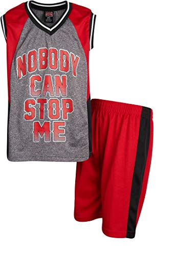 Mad Game Boys 2-Piece Basketball Performance Tank Top and Shorts Set (Red Nobody, 7)'
