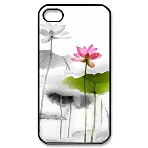 Custom Cover Case with Hard Shell Protection for Iphone 4,4S case with Beautiful flowers lxa#876797