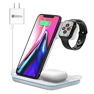 Wireless Charging Station, 3 in 1 Qi Charger for Apple Watch 1 2 3 4 5 6/Airpods, Wireless Charger for iPhone 11/11 Pro/11 Pro Max/XS Max/XS XR Plus Samsung S10 S9 S8 S7 and Qi-Certified Phones