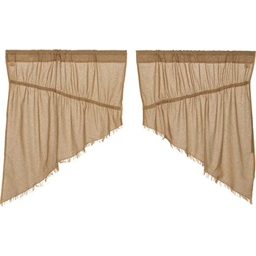 VHC Brands Primitive Farmhouse Kitchen Window Curtains-Tobac
