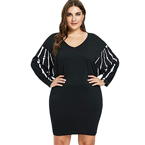 KCatsy Halloween Dolman Sleeve Plus Size V Neck Dress Black -