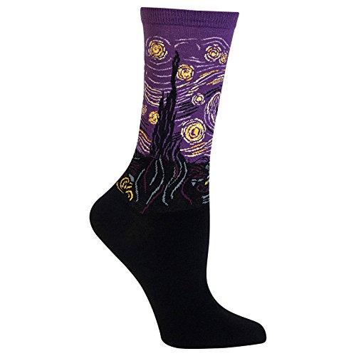 (Hot Sox Women's Artist Series Crew Socks, Starry Night (Purple) Shoe Size: 4-10)