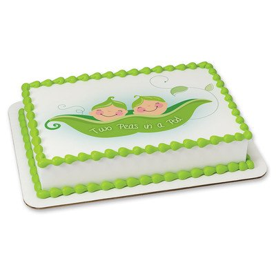 Two Peas In A Pod Edible Cake Topper 19908