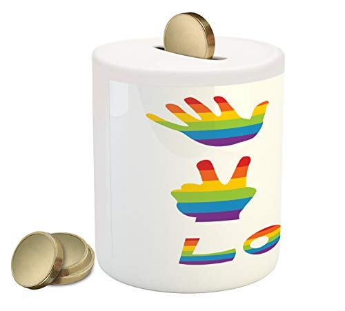 Ambesonne Pride Piggy Bank, Various in Rainbow Colors Peace Hand Signs Heart Shape Gay Community, Printed Ceramic Coin Bank Money Box for Cash Saving, Multicolor