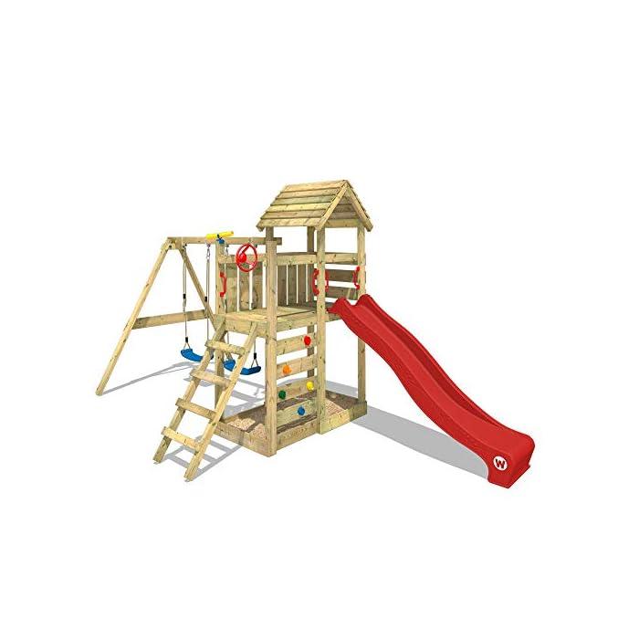 41Jqye0ZQTL WICKEY Torre de escalada incluyendo conjunto completo de accesorios con columpio, tobogán y cajón de arena Poste 9x4,5 - Poste de columpio 9x9cm - Madera maciza impregnada a presión - Cajón de arena - Muro para trepar Calidad y seguridad aprobada - Instrucciones de montaje detalladas - Varias opciones de montaje - Made in Germany