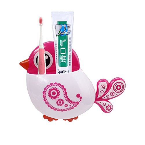 Oksale® Toothbrush and Toothpaste Holder Mount Set ,Creative Bird Pattern Wall Suction Bathroom Organizer Cup with Sucker (Pink)