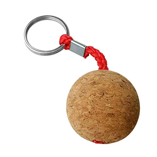 DYNWAVE 3.5cm/1.4inch Floating Single Cork Ball Keychain/Keyring/Buoyant/Key Ring, Marine Sailing Boat Keys Float