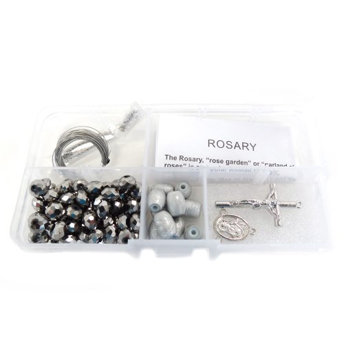 Fiona Metallic Crystal Beads and Silver Lining Plastic Beads Rosary DIY Kit (Wood Bead Metallic)
